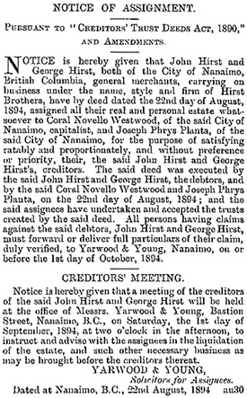 British Columbia Gazette, August 30, 1894, page 802; https://archive.org/stream/governmentgazett34nogove_x0a8#page/802/mode/1up.