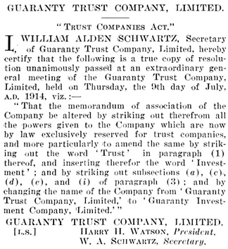 Guaranty Trust Company Limited, changes to memorandum of association; British Columbia Gazette, July 16, 1914, page 4159; https://archive.org/stream/governmentgazett54nogove_l5z8#page/4159/mode/1up.