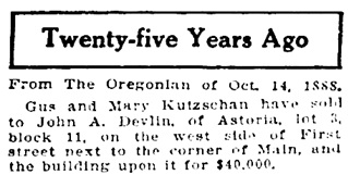 Morning Oregonian (Portland, Oregon), October 14, 1913, page 8; http://oregonnews.uoregon.edu/lccn/sn83025138/1913-10-14/ed-1/seq-8/.