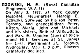 Harold E. Gzowski, death notice, Toronto Globe and Mail, May 4, 1977, page 45.