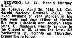 Harold Northey Gzowski, death notice, Toronto Globe and Mail, April 28, 1966, page 55.