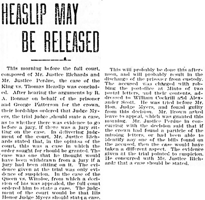 The Winnipeg Tribune, May 8, 1905, page 1 [portions of article].