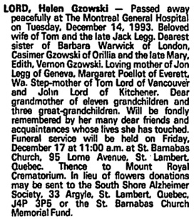 Helen Gzowski Lord, death notice, Toronto Globe and Mail, December 16, 1993, page A18.