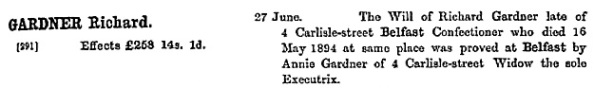 """Ireland Calendar of Wills and Administrations, 1858-1920,"" database with images, FamilySearch (https://familysearch.org/ark:/61903/1:1:KZ5Z-6XY : 12 December 2014), Richard Gardner, 16 May 1894; citing 00169, 005014908, Principal Probate Registry, Dublin; 100,994."