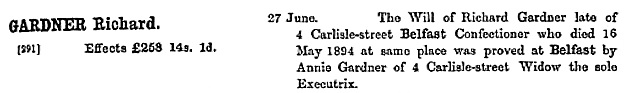 """""""Ireland Calendar of Wills and Administrations, 1858-1920,"""" database with images, FamilySearch (https://familysearch.org/ark:/61903/1:1:KZ5Z-6XY : 12 December 2014), Richard Gardner, 16 May 1894; citing 00169, 005014908, Principal Probate Registry, Dublin; 100,994."""