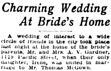 Vancouver Daily World, July 29, 1920, page 6, column 5 [excerpt]; [similar notice in Vancouver Province, July 29, 1920, page 8].