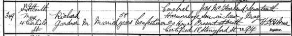 Irish Genealogy: Name: Richard Gardner; Year of Death: 1894; Group Registration ID: 3968122; SR District/Reg Area: Belfast; Deceased Age at Death: 58; https://civilrecords.irishgenealogy.ie/churchrecords/images/deaths_returns/deaths_1894/05969/4696809.pdf.