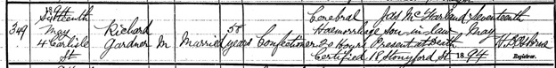 Irish Genealogy: Name: Richard Gardner; Year of Death: 1894; Group Registration ID: 3968122; SR District/Reg Area: Belfast; Deceased Age at Death: 58; https://civilrecords.irishgenealogy.ie/churchrecords/images/deaths_returns/deaths_1894/05969/4696809.pdf.