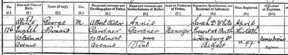 Irish Genealogy; SR District/Reg Area – Belfast; Birth of George Gardner in 1897; Name: George Gardner; Date of Birth: 1897; Group Registration ID: 10906956; SR District/Reg Area: Belfast; https://civilrecords.irishgenealogy.ie/churchrecords/images/birth_returns/births_1897/02132/1809846.pdf.