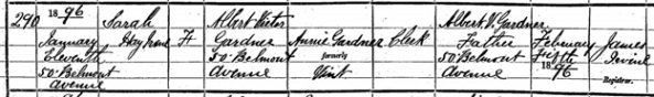 Irish Genealogy; SR District/Reg Area – Belfast; Birth of Sarah Gardner in 1896; Name: Sarah Gardner; Date of Birth: 1896; Group Registration ID: 9738609; SR District/Reg Area: Belfast; https://civilrecords.irishgenealogy.ie/churchrecords/images/birth_returns/births_1896/02186/1827408.pdf.