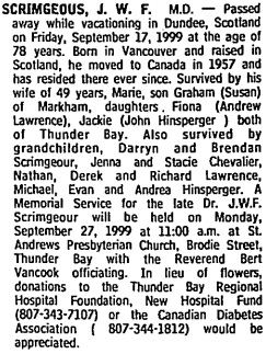J.W.F. Scrimgeour, death notice, Toronto Globe and Mail, September 25, 1999, page E8, column 6.