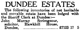 Dundee Estates. The Evening Telegraph and Post (Dundee, Scotland), April 24, 1942; page 5.