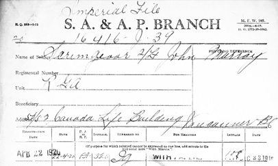 Library and Archives Canada; Ottawa, Ontario, Canada; Imperial War Service Gratuities; Reference: RG9-II-F-10; Volume: 235; Ancestry.com. Canada, Imperial War Service Gratuities, 1919-1921 [database on-line]. Provo, UT, USA: Ancestry.com Operations, Inc., 2015. John Murray Scrimgeour; Registration Date: 22 Apr 1920; Registration Place: Canada; Inferred Residence Year: 1920; Residence Place: Vancouver, British Columbia; Military Rank: Second Lieutenant; Regiment: R.G.A.