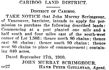 British Columbia Gazette, December 8, 1910, page 13997; https://archive.org/stream/governmentgazett50nogove_l6h9#page/13997/mode/1up.