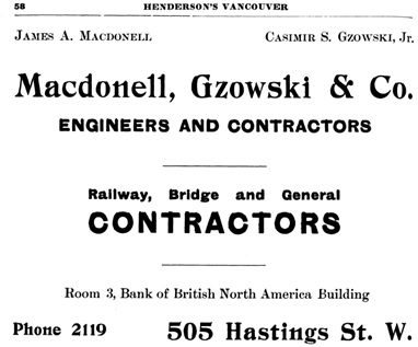 Henderson's City of Vancouver Directory, 1907, page 58.
