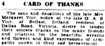 Victoria Daily Colonist, September 15, 1929, page 34, column 1; http://archive.org/stream/dailycolonist929uvic_15#page/n13/mode/1up.