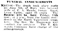 Vancouver Daily World, June 10, 1915, page 15, column 1.