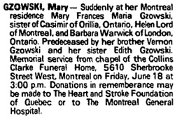 Mary Gzowski, death notice, Toronto Globe and Mail, June 3, 1993, page A14.
