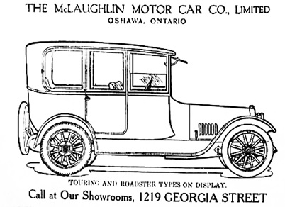McLaughlin Motor Car Company, advertisement (selected portion); Vancouver Daily World, November 2, 1916, page 14, columns 1-3.
