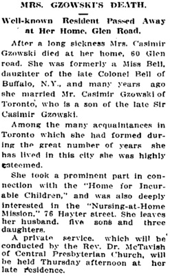 """Mrs. Gzowski's Death: Well-known Resident Passed Away at Her Home, Glen Road,"" Toronto Globe, March 4, 1913, page 8."