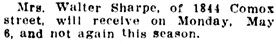 Society, Vancouver Daily World, May 4, 1912, page 8, column 3; similar to Social and Personal, Vancouver Province, December 1, 1911, page 5.
