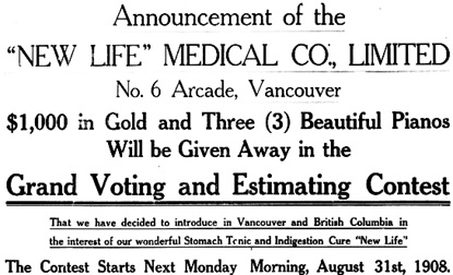 Vancouver Daily World, August 29, 1908, page 32 [portion of advertisement].