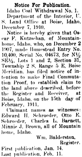 Elmore County Republican, January 14, 1911, page 3, column 3, http://chroniclingamerica.loc.gov/lccn/sn86091062/1911-01-14/ed-1/seq-3/.