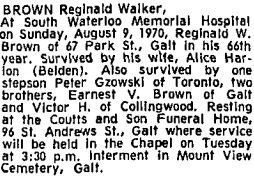 Reginald Walker Brown, death notice, Toronto Globe and Mail, August 10, 1970, page 25.