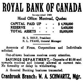 Cranbrook Herald, December 9, 1909, page 5, columns 1-2; https://open.library.ubc.ca/collections/bcnewspapers/cranherald/items/1.0068891#p4z-2r0f: