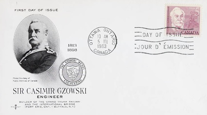 "Sir Casimir Gzowski, first day cover, March 5, 1963; Library and Archives Canada/MIKAN 2261057; reproduced in H. V. Nelles, ""Gzowski, Sir Casimir Stanislaus,"" in Dictionary of Canadian Biography, vol. 12, University of Toronto/Université Laval, 2003–, accessed August 25, 2017, http://www.biographi.ca/en/bio/gzowski_casimir_stanislaus_12E.html."