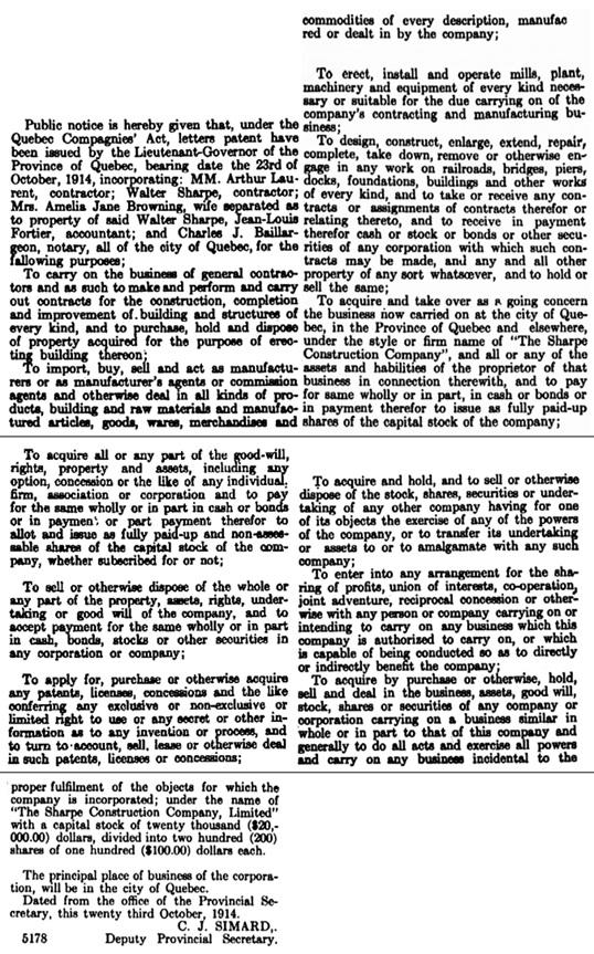 The Sharpe Construction Company Limited, notice of incorporation, Quebec Official Gazette, November 17, 1914, pages 2776-2778; http://collections.banq.qc.ca:81/jrn03/goq/src/1914/11/07/116644_1914-11-07.pdf; https://scc-csc.lexum.com/scc-csc/scc-csc/en/item/9618/index.do.