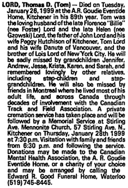 Thomas D. Lord, death notice, Toronto Globe and Mail, January 27, 1999, page S13.