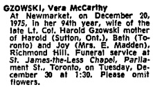 Vera McCarthy Gzowski, death notice, Toronto Globe and Mail, December 24, 1975, page 36.