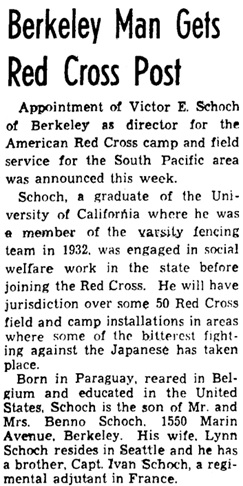 Oakland Tribune, (Oakland, California), November 23, 1944, page 14, column 5.