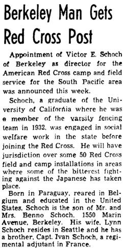 Oakland Tribune, (Oakland, California), November 23, 1944, page 14, column 5.