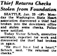 Statesman Journal (Salem, Oregon), January 26, 1950, page 6, column 8.