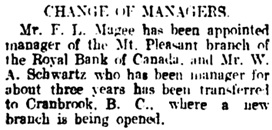 Vancouver Daily World, May 29, 1909, page 10, column 1.