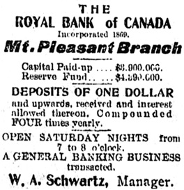 Mt. Pleasant Advocate, October 23, 1907, page 1, column 2; https://open.library.ubc.ca/collections/bcnewspapers/mpadvocate/items/1.0311608#p0z-1r0f: