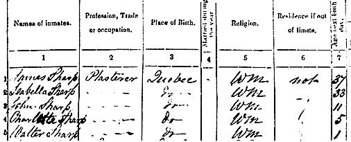 """Québec, recensement, 1861,"" database, FamilySearch (https://familysearch.org/ark:/61903/1:1:MM7F-LPM : 7 November 2014), Walter Sharp, Québec (St-Roch), Québec, Quebec, Canada; citing line number 5, p. 51...; Library and Archives Canada film number C-1258, Archives Publiques, Ottawa (Board of Registration and Statistics. Public Archives, Ottawa); FHL microfilm 517,348; http://data2.collectionscanada.gc.ca/1861/pdf/4108628_00154.pdf."