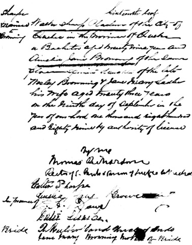 Ancestry.com. Quebec, Canada, Vital and Church Records (Drouin Collection), 1621-1968 [database on-line]. Provo, UT, USA: Ancestry.com Operations, Inc., 2008. Original data: Gabriel Drouin, comp. Drouin Collection. Montreal, Quebec, Canada: Institut Généalogique Drouin. Name: Walter Sharpe; Spouse: Amelia Jane Broming [sic., i.e., Browning]; Event: Mariage (Marriage); Marriage Year: 1889; Marriage Location: Quebec (Quebec City), Québec (Quebec); Religion: Anglican; Place of Worship or Institution: Anglican Holy Trinity Church.