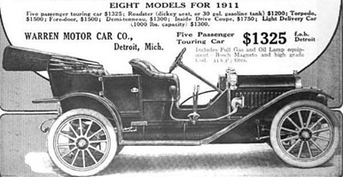 "Warren Motor Car Company, Warren-Detroit ""30,"" http://www.american-automobiles.com/images1/Warren-Detroit-1911-3.jpg; The Warren-Detroit Automobile & The Warren Motor Car Co.; http://www.american-automobiles.com/Warren-Detroit.html."