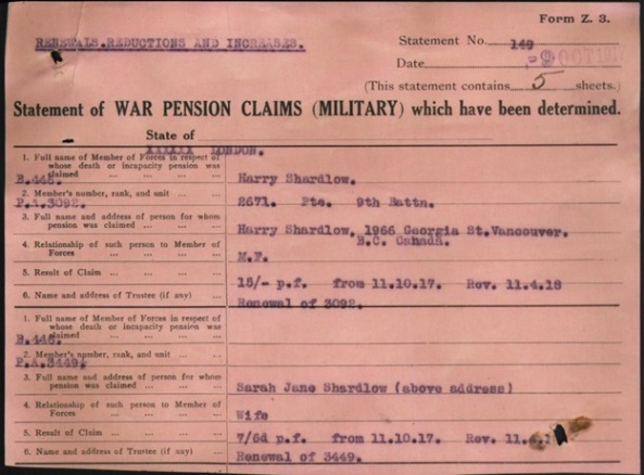 Australian Imperial Force; War Pension Claims; SHARDLOW Harry : Service Number - 2671 : Place of Birth - Nottingham England : Place of Enlistment - Bowen QLD : Next of Kin - (Wife) SHARDLOW Sarah Jane; https://recordsearch.naa.gov.au/SearchNRetrieve/Interface/DetailsReports/ItemDetail.aspx?Barcode=8080072&isAv=N.