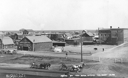 Bassano, Alberta, about 1910, Van Aken Studio (Photographer); University of Alberta, Prairie Postcards, Postcard 3054; http://peel.library.ualberta.ca/postcards/PC003054.html.