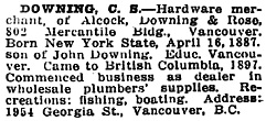 C.S. Downing, Who's Who in Western Canada, 1911, page 164; http://ourroots.ca/page.aspx?id=643158&qryID=530311ea-12a7-4479-be7f-d44ecdc649cb&pageSizeToggle=large.