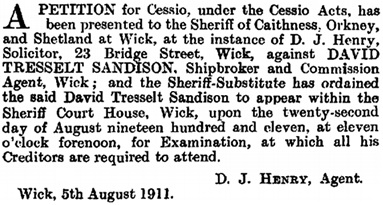 The Edinburgh Gazette, August 8, 1911, pages 810-811; https://www.thegazette.co.uk/Edinburgh/issue/12379/page/810/data.pdf; https://www.thegazette.co.uk/Edinburgh/issue/12379/page/811/data.pdf.