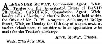 The Edinburgh Gazette, July 31, 1914, page 883; https://www.thegazette.co.uk/Edinburgh/issue/12692/page/883.