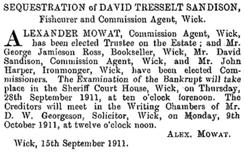 The Edinburgh Gazette, September 19, 1911, page 944; https://www.thegazette.co.uk/Edinburgh/issue/12391/page/944.