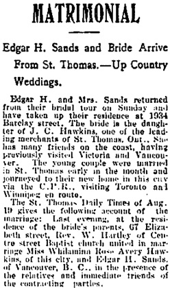 Vancouver Daily World, August 25, 1902, page 8, column 3 [portion of article].