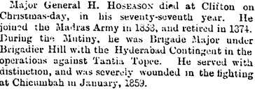 H. Hoseason, obituary, The Standard (London, England), December 31, 1895; page 3, column 5.