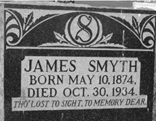 """Find A Grave Index,"" database, FamilySearch (https://familysearch.org/ark:/61903/1:1:QVGJ-MH2J : 13 December 2015), James Smyth, 1934; Burial, Cowley, Claresholm Census Division, Alberta, Canada, Cowley Cemetery; citing record ID 124210943, Find a Grave, https://www.findagrave.com/cgi-bin/fg.cgi?page=gr&GRid=124210943."
